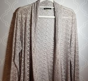 Cable & Gauge lace like drape cardigan XL